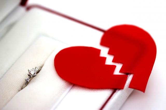 婚約指輪と割れたハート